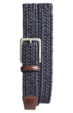 Beautiful Torino Woven Leather Belt Mens accessories from top store Designer Belt Buckles, Designer Belts, Nordstrom Gifts, Leather Belts, Men's Belts, Leather Bracelets, Navy And Brown, Mens Big And Tall, Macrame
