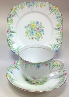 Royal Albert Crown China Lynton English Vintage Art Deco China Tea Set Teacup T
