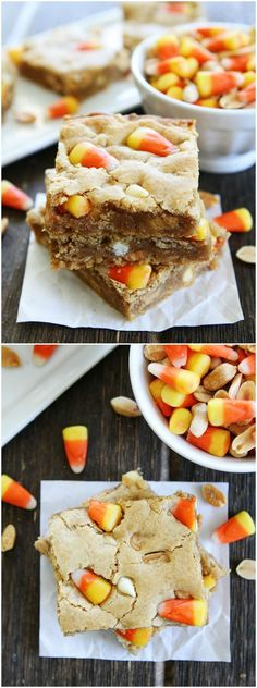 Peanut Butter Candy Corn Blondies Recipe on http://twopeasandtheirpod.com A fun and tasty treat for fall! The peanut and candy corn combo is incredible!