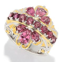 162-302 - Gems en Vogue Final Cut 2.56ctw Multi Shape Pink Tourmaline Flower Ring