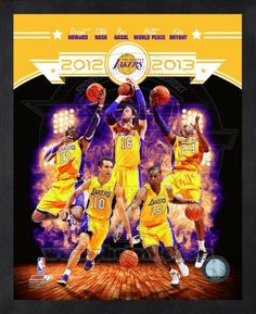 "Los Angeles Lakers 2012-2013 Framed NBA Team Composite Photo 16x20 by NBA. $49.99. Custom cropped on high gloss photographic paper, this officially licensed 16x20 composite photo celebrates the 2012-2012 Los Angeles Lakers with images of key contributors: Kobe Bryant, Steve Nash, Dwight Howard, Metta World Peace, and Pau Gasol.  Photo is framed in a 1/2"" black wood frame, open faced with no glass or plexi-glass.  Official NBA and NBPA logos as well as a sequent..."