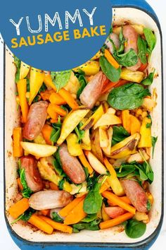 One pan sausage tray bake, this meal is so delicious with apples and sweet potato the whole family will love it. Find the delicious recipe here at My Kids Lick The Bowl Healthy Family Dinners, Healthy Meals For Kids, Family Meals, Healthy Recipes, Weeknight Dinners, Tray Bake Recipes, Cooking Recipes, One Pan Meals, Easy Meals