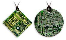 """Circuit board necklaces: Upcycled from misprinted circuit boards.  """"Each necklace is unique, just like every snowflake. Only with more circuit board than your average snowflake."""""""