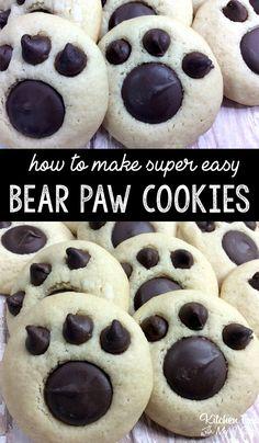 Bear Paw Cookies recipe fun treat for kids Recipes Bear Paw Cookies Recipe, Sugar Cookies Recipe, Bear Cookies, Cake Cookies, Fun Cookies, Homemade Cookie Recipe, Betty Crocker Sugar Cookie Recipe, School Cookies Recipe, Bake Sale Cookies