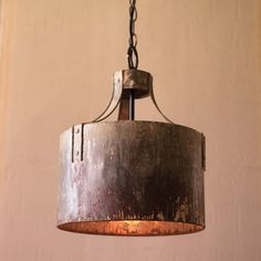 Kalalou Metal Cylinder Pendant Light - Rustic metal riveted arms clamp to a cylindrical pendant creating industrial light and more than a little magic. Pair two or more over a workspace or kitchen island. Rustic Kitchen Lighting, Rustic Light Fixtures, Kitchen Pendant Lighting, Drum Pendant, Farmhouse Lighting, Pendant Light Fixtures, Industrial Lighting, Rustic Farmhouse, Rustic Industrial