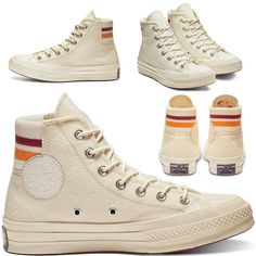 CONVERSE ORIGINAL CT HI 1970s RETRO STRIP - EGRET/RHUBARB/ORANGE.RIND (WOOL) Orange Converse, New Converse, Converse Chuck Taylor, Converse Haute, All Star, Me Too Shoes, 1970s, High Top Sneakers, Kicks