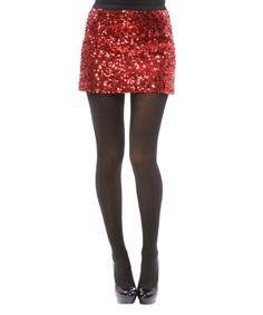 Betsey Johnson Medal of Honor Sequin Mini Skirt in Red