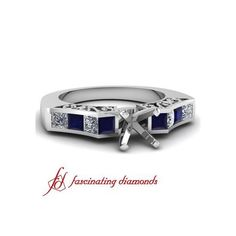Diamond Vintage Engagement Ring Channel Set With Blue Sapphire ($1,670)