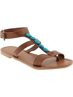 Women's Jewelled T-Strap Sandals | Old Navy