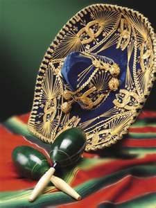 Mexican hat and maracas.