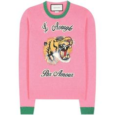 Gucci - Wool sweater with appliqué Gucci Fashion, Couture Fashion, Gucci Sweatshirt, Hoodie, Woolen Tops, Gucci Denim, International Fashion Designers, Gucci Top, Knitwear Fashion
