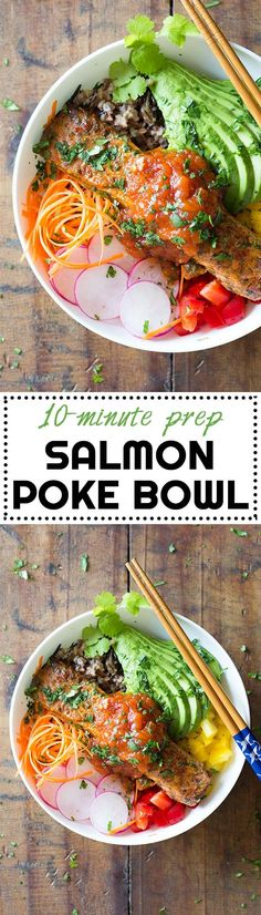10-minute prep to-die-for Salmon Poke Bowl! Your favorite grain, chopped up veggies and a delicious salmon filet topped with the most amazing sauce! via @greenhealthycoo
