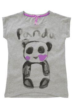 Buy Grey Marl Panda Printed Dip Hem T-Shirt (3-16yrs) from the Next UK online shop