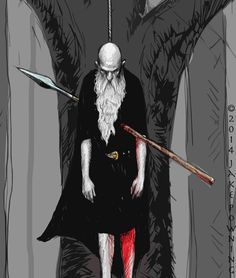 Odin hangs himself from the tree Yggdrasil in order to find the secret of the runes. Jake Powning