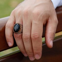 Black Agate Stone Special Design 925 Sterling Silver Men's Ring