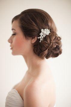 Flower Rhinestone Bridal Comb, Floral Rhinestone Comb, Jeweled Bridal Comb - Marie  MADE TO ORDER. $50.00, via Etsy.