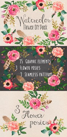 Watercolor Flower DYI Pack  Graphic Box Creative Market ( @megstalker )