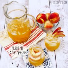 Peach Pie Sangria made with fresh peach nectar, white wine, and caramel vodka. AMAZING! Favorite cocktail for spring and summer, or anytime!