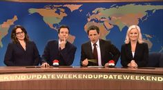 ALL of these beautiful people:    Weekend Update Tina Fey, Jimmy Fallon, Seth Myers and Amy Poelher.