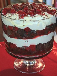 Pampered Chef Black Forest Trifle Recipe - Trifle Bowl is one of the exciting host specials for April 2013! 60% off! new.pamperedchef.... or email me at mailto:carmen.joh...