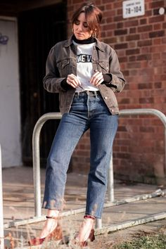 Rebel girls wear velvet shoes | #doubledenim | #retrovibes | #outfitinspiration | #Levis | #denimjacket | #blackdenim | #levis501 | #urban | #chic | #goldenjewelery | She talks Glam | Saida Antolin | #fashionphotography | #streetstyle | #minimalfashion | #inspiringfashion | #canadiantuxedo | #rebel | #straightcutjeans | #vintage | #denimaddicted | #winterlook | #velvet | #velvetsalonshoes | #autumnfashion | #blockheels | #summeraccesories | #ootd | #crochetbag | #slogantee | #jeansandtee… Canadian Tuxedo, Straight Cut Jeans, Velvet Shoes, Double Denim, Slogan Tee, Urban Chic, Winter Looks, Minimal Fashion, Girls Wear