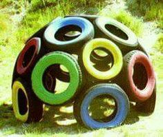 ideas for backyard kids play area diy old tires Tire Playground, Outdoor Playground, Playground Ideas, Playground Design, Plastic Playground, Kids Outdoor Play, Kids Play Area, Diy Outdoor Toys, Tire Craft