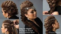 Mohawk updo hairstyles day to night hairstyle mohawk braid into fishtail bun sam Braided Mohawk Hairstyles, Mohawk Braid, African Hairstyles, French Braid Mohawk, Faux Mohawk, Natural Hair Mohawk, Natural Hair Styles, Long Hair Styles, Night Hairstyles