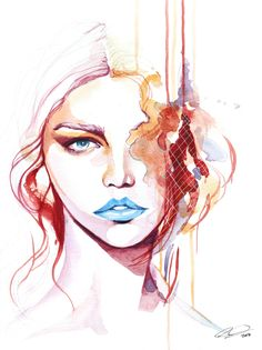 Missing Pieces - contemporary watercolor portrait art by defectivebarbie