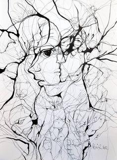 A Web of Abstract Drawings by Boicu Marinela - Boicu Marinela illustration drawing erotic portrait - Abstract Drawings, Ink Drawings, Drawing Faces, Street Art, Illusion Art, Wow Art, Art Plastique, Painting & Drawing, Amazing Art