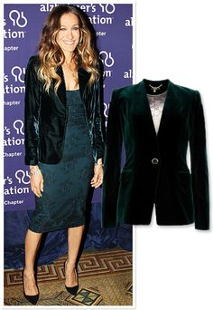 Look festive (and stay warm) in a plush jacket over a simple sheath. Sarah Jessica Parker went monochromatic, matching her velvet blazer to her bottle green dress.