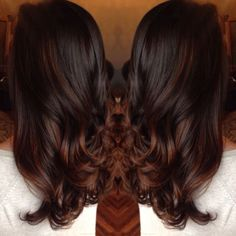 rich chocolate brown hair with red balayage highlights