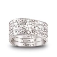 """Wedding rings - Notice the engraving on each ring:  """"Today""""; """"Tomorrow,"""" """"Always"""""""