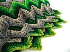 vintage afghan - Missoni chevron stripes greens and grays!