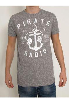 Friend Or Faux grey pirate slogan print t shirt