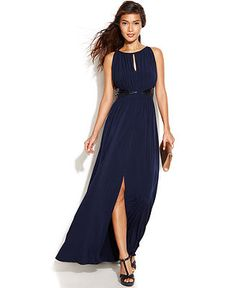 JS Boutique Sleeveless Embellished Keyhole Gown - Dresses - Women - Macy's