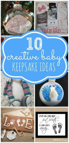 10 Creative Baby Keepsake Ideas via Pretty My Party There are so many fun and creative ways you can preserve those precious baby memories. Check out these 10 Creative Baby Keepsake Ideas. Shadow Box Baby, Keepsake Baby Gifts, Keepsake Crafts, Baby Footprints, Baby Memories, Baby Crafts, Party Ideas, Party Party, Gift Ideas