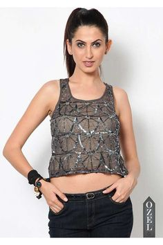Sleeveless embellished silver Top by KAXIAA