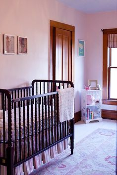 A Sweet Girl's Nursery I really like the simple crib and country shabby chic look