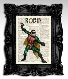 "Robin - Original illustration super hero collection art print 8""x11"""