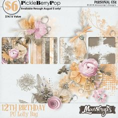 Lolly bag - PU {by Moosscrap's Designs} 12th Birthday, Birthday Celebration, Happy Birthday, Lolly Bags, Digital Scrapbooking, Floral Wreath, Frame, Design, Products