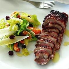Smoked duck breast with witloof, mandarin, cranberry & cashew salad