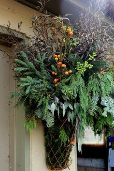 Great greenery basket for your front door!
