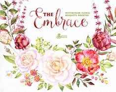 The Embrace. Watercolor Bouquets and Wreaths, roses, wedding invitation, floral…