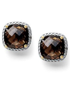 Victoria Townsend 18k Gold over Sterling Silver Earrings, Smokey Topaz (12 ct. t.w.) and Diamond Accent Stud Earrings