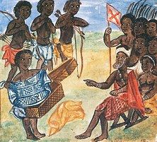 Depiction of a leader, merchant, and soldiers in the kingdom of Kongo (Angola), ca. 1675