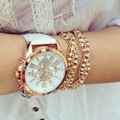 Instagram media by hellomissapple - Beauté multifunction watch in White/Rose Gold❤️
