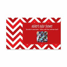 Chevron Red - Personalized Baby Shower Scratch Off Cards - 22 ct   BigDotOfHappiness.com