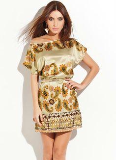Vestido em Cetim com Estampa de Lenço Quintess - Moda Feminina Vestidos Vestido de Festa Moda Feminina - Quintess - Moda Feminina