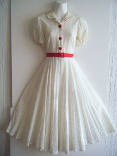 vintage 1930's party dress eyelet lace and by sugarshackvintage, $220.00