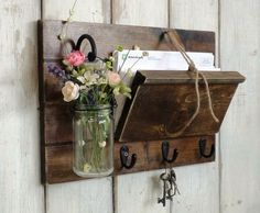 Unique Rustic Wood Mail and Key Holder. Hanging Mason Jar..Farmhouse Wall Decor Organizer..Key Hooks.. Mason Jar Shelf